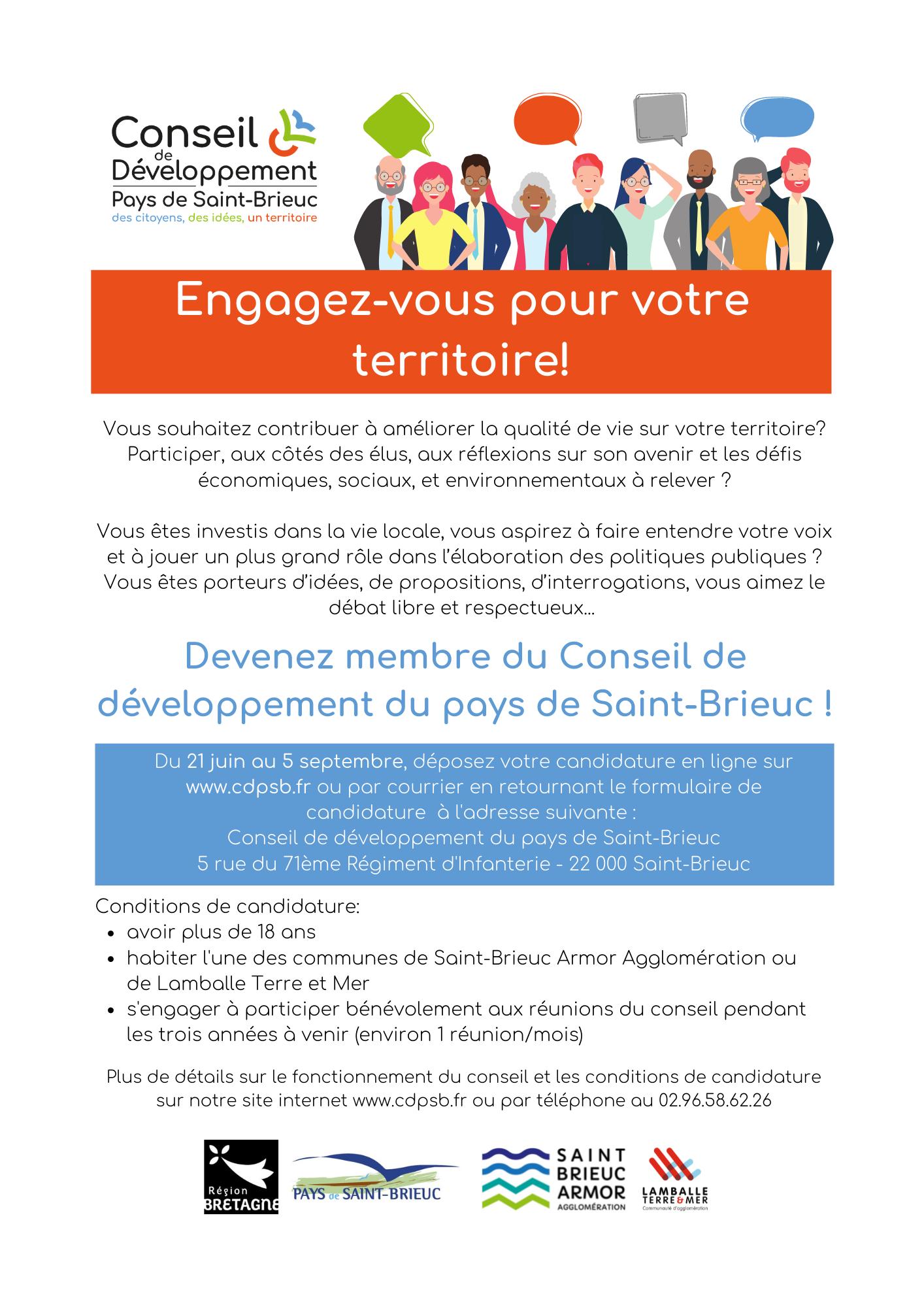 Engagez-vous pour votre territoire et devenez membre du Conseil de développement du Pays de Saint-Brieuc